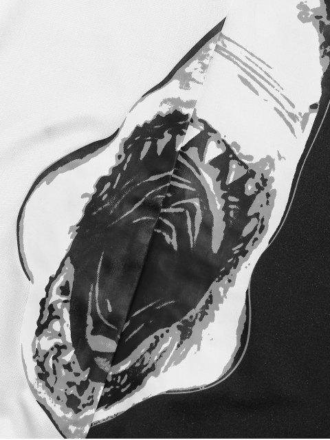 鯊魚嘴打印休閒套衫運動衫 - 白色 2XL Mobile