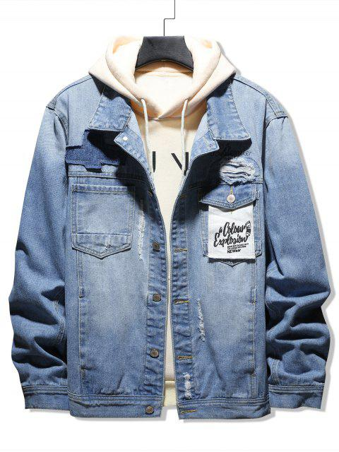 fancy Casual Letter Pattern Ripped Denim Jacket - DENIM BLUE S Mobile