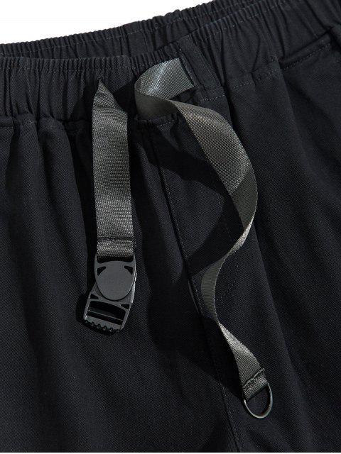 固體多口袋帶休閒褲 - 黑色 L Mobile