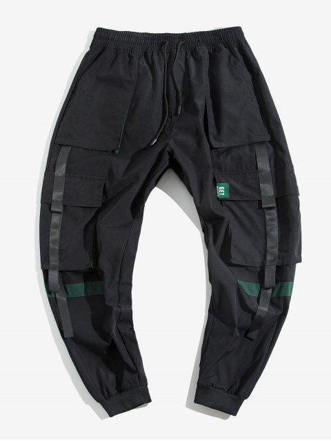 women's Colorblock Spliced Multi-Pocket Cargo Jogger Pants - BLACK M Mobile