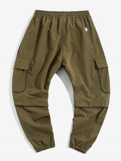 對比色飾邊貼花休閒貨物慢跑褲 - 綠色 M Mobile