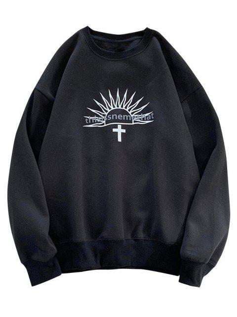 信圖形打印羊毛圓領運動衫 - 黑色 L Mobile