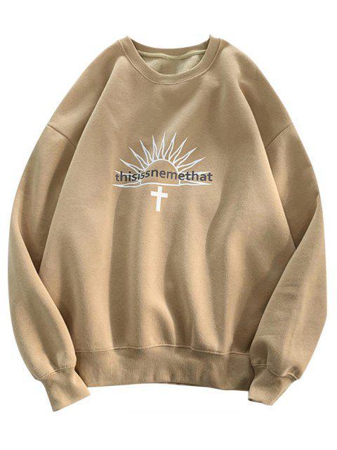 信圖形打印羊毛圓領運動衫 - 黃褐色 L Mobile