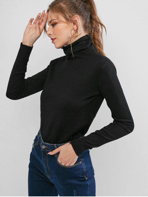 sale High Neck Ribbed Hem Plain Pullover Knitwear - BLACK 2XL Mobile