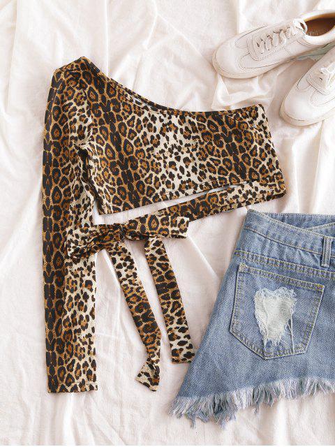 women ZAFUL Leopard Print One Shoulder Crop Tee - LEOPARD S Mobile