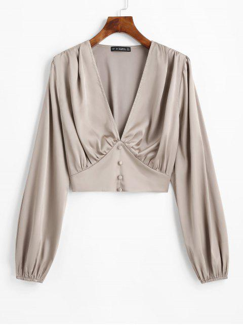 outfit ZAFUL Cropped Buttoned Satin Milkmaid Blouse - LIGHT KHAKI M Mobile