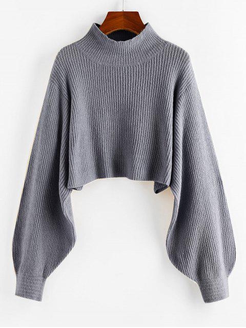 new ZAFUL Lantern Sleeve Cropped Sweater - GRAY CLOUD M Mobile