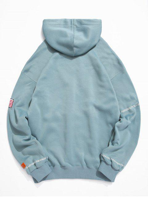 fancy ZAFUL American Flag Patched Drawstring Pocket Hoodie - MACAW BLUE GREEN XL Mobile