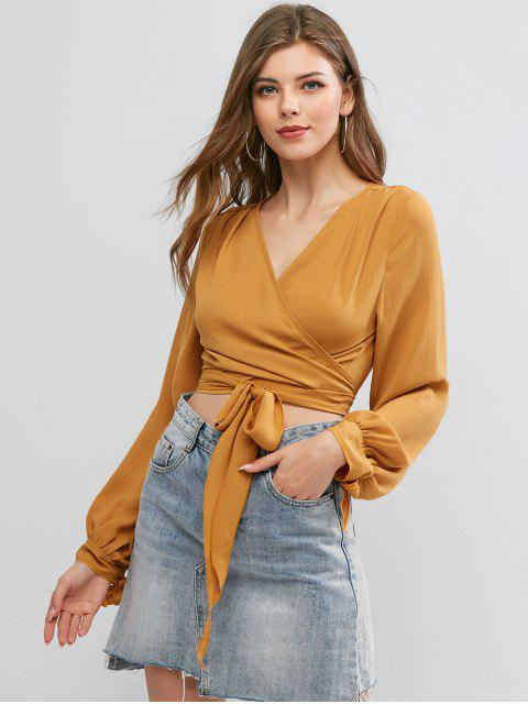 fancy ZAFUL Tie Sleeve Knotted Wrap Cropped Blouse - SANDY BROWN XL Mobile