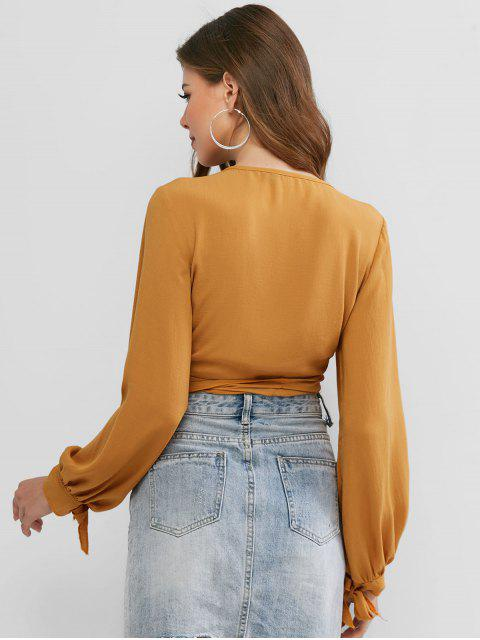 latest ZAFUL Tie Sleeve Knotted Wrap Cropped Blouse - SANDY BROWN M Mobile