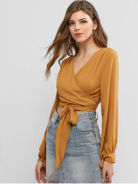 new ZAFUL Tie Sleeve Knotted Wrap Cropped Blouse - SANDY BROWN S Mobile