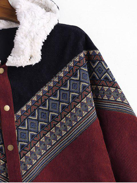 lady Tribal Geometric Chevron Spliced Fluffy Hooded Jacket - RED WINE S Mobile
