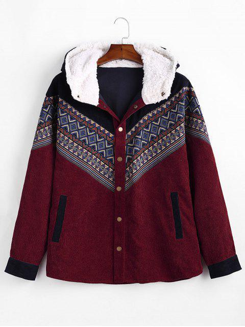 online Tribal Geometric Chevron Spliced Fluffy Hooded Jacket - RED WINE L Mobile