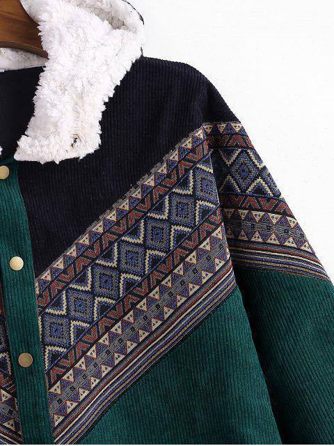 women Tribal Geometric Chevron Spliced Fluffy Hooded Jacket - MEDIUM SEA GREEN L Mobile