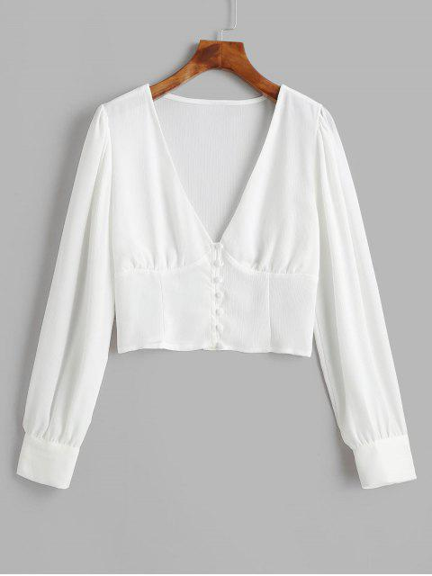 sale V Neck Solid Button Loop Blouse - WHITE M Mobile