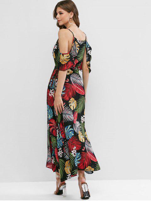 unique Cold Shoulder Palm Leaves Floral Dress - BLACK L Mobile