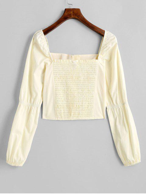 latest Smocked Back Button Loop Milkmaid Blouse - YELLOW S Mobile