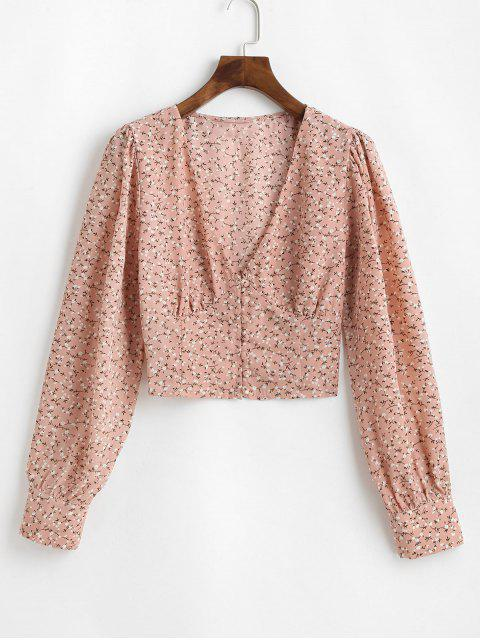 sale Button Loop Cropped Ditsy Floral Blouse - PINK S Mobile