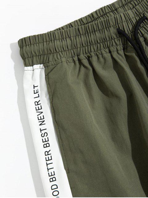 women's Letter Print Color Blocking Panel Cargo Jogger Pants - GREEN L Mobile