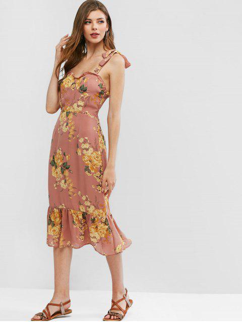 Vestido de Bata con Estampado Floral con Lazo en Espalda - Multicolor M Mobile