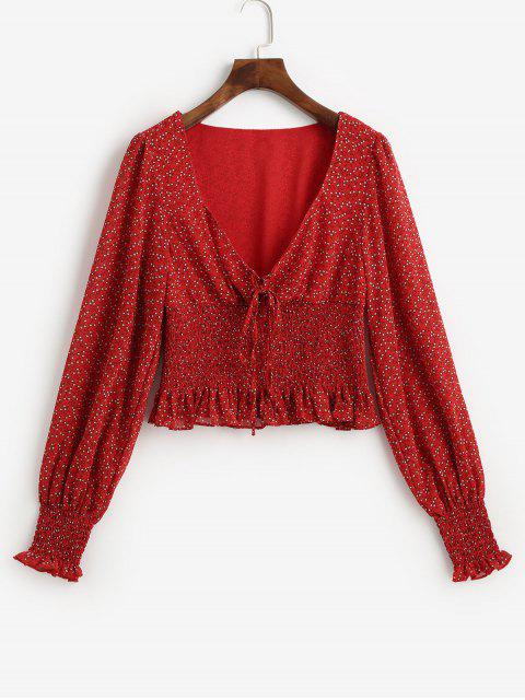 fancy Smocked Waist Ditsy Floral Lace Up Blouse - RED L Mobile
