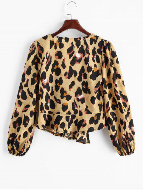 outfits Leopard Print V Neck Buttoned Blouse - LEOPARD M Mobile