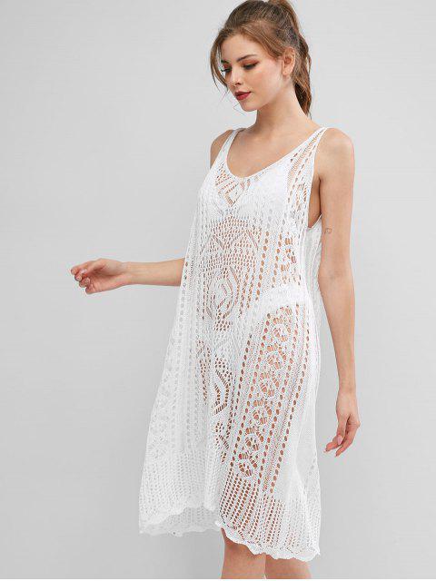 Vestido de Playa de Punto Festoneado - Blanco Talla única Mobile