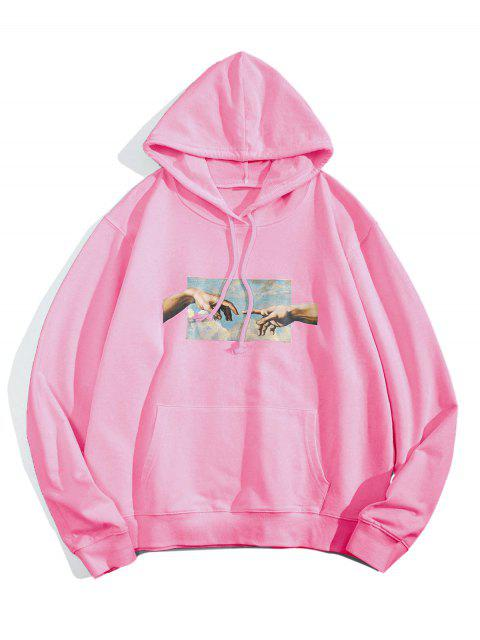 hot Helping Hands Graphic Front Pocket Lounge Hoodie - PINK XS Mobile