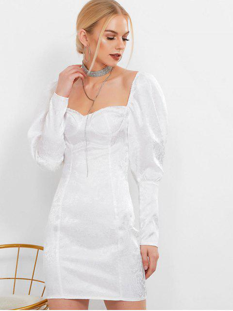 Vestido de Cuello de Corazón con Manga de Jacquard - Blanco L Mobile