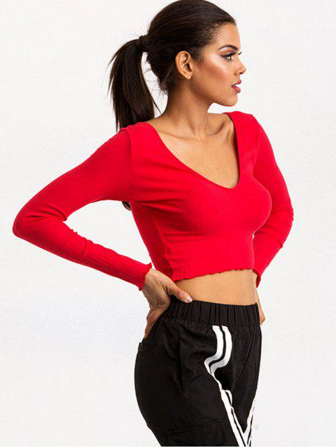 outfits Plunge V Back Long Sleeve Crop Tee - RED L Mobile
