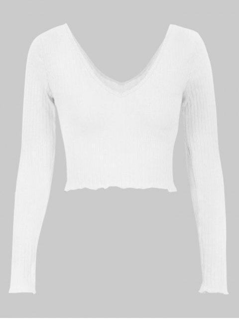 affordable Plunge V Back Long Sleeve Crop Tee - WHITE M Mobile
