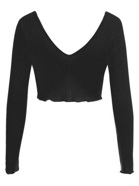 women's Plunge V Back Long Sleeve Crop Tee - BLACK M Mobile