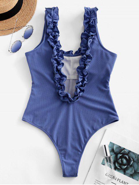 ZAFUL荷葉邊腰背帶肋連體泳衣 - 絲藍色 M Mobile