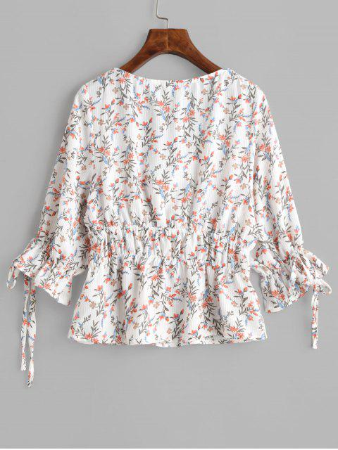 shop Tiny Floral Tied Poet Sleeves Blouse - WHITE S Mobile