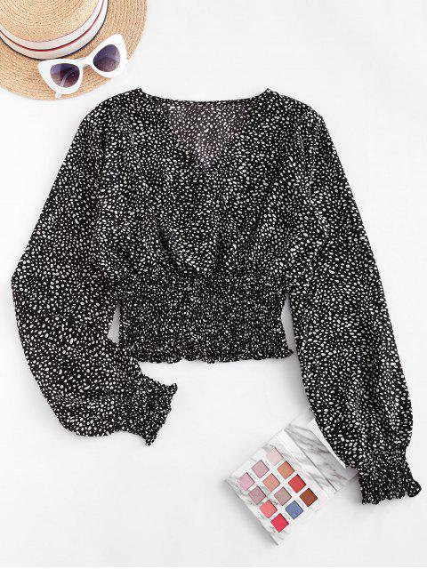 fashion Dalmatian Dot Smocked Crop Blouse - BLACK S Mobile