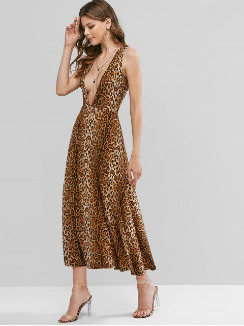 ZAFUL Vestido Maxi com Corte Baixo e Estampa de Leopardo - Madeira XL Mobile