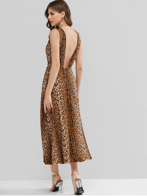 ZAFUL Vestido Maxi com Corte Baixo e Estampa de Leopardo - Madeira M Mobile