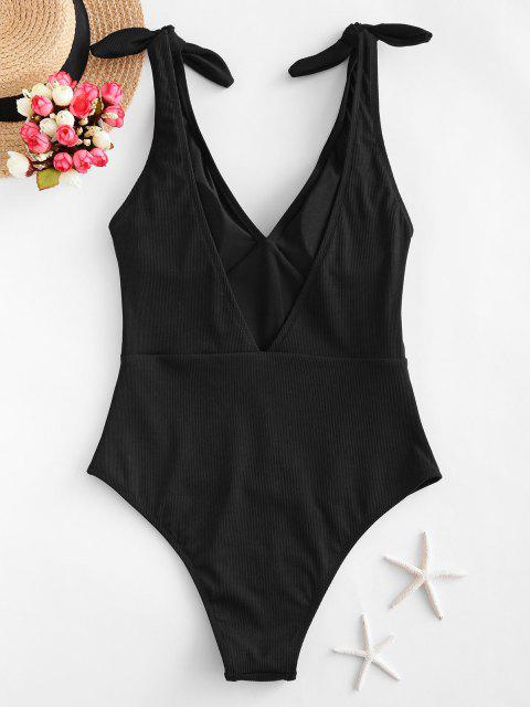 fashion ZAFUL Ribbed Knot One-piece Swimsuit - BLACK XL Mobile