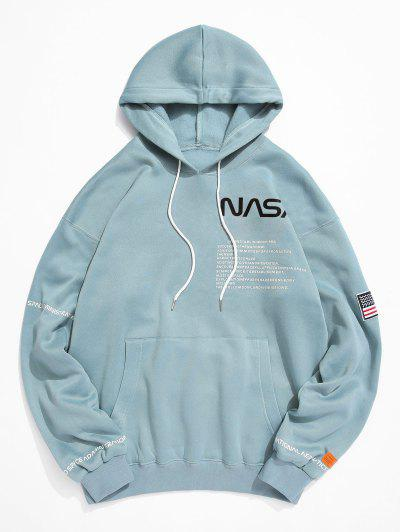 American Flag Patched Drawstring Pocket Hoodie - Macaw Blue Green 3xl