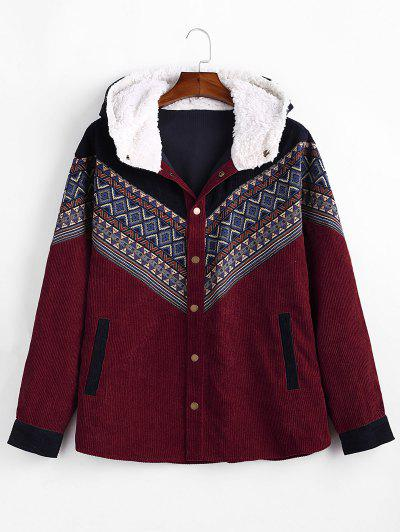Tribal Geometric Chevron Spliced Fluffy Hooded Jacket - Red Wine M