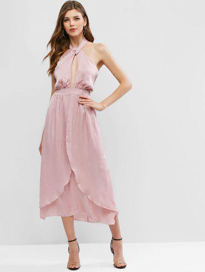 Criss Cross Slit Long Swing Dress - Pink M