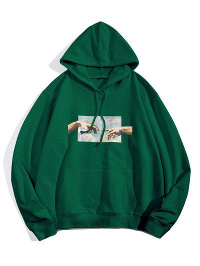 Helping Hands Graphic Front Pocket Lounge Hoodie - Jungle Green M