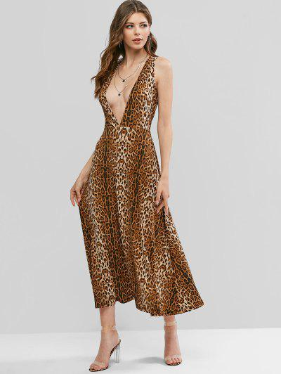 ZAFUL Low Cut Leopard Print Maxi Dress - Wood Xl