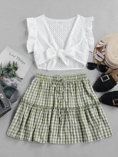ZAFUL Gingham Eyelet Knotted Two Piece Suit - Multi L