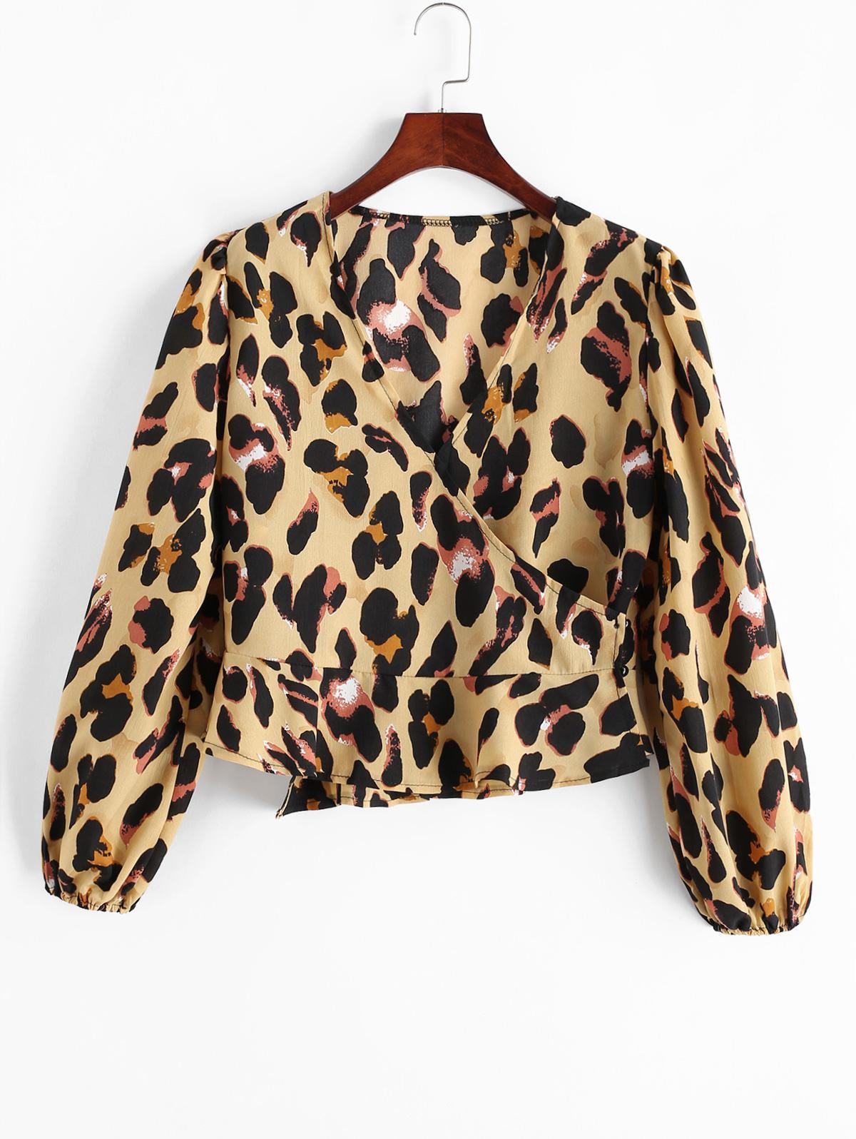 Leopard Print V Neck Buttoned Blouse фото