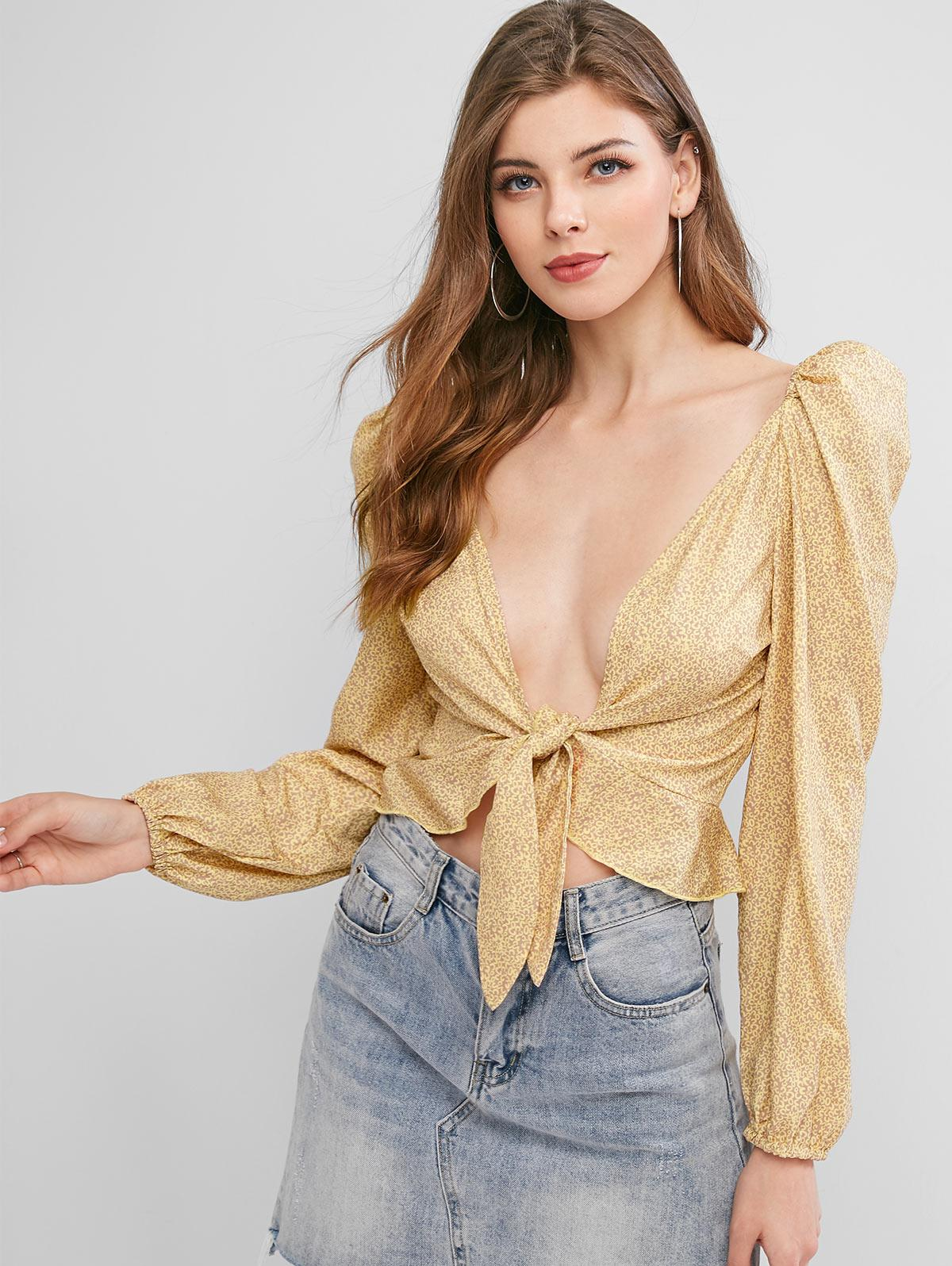 ZAFUL Plunge Printed Tie Front Blouse фото