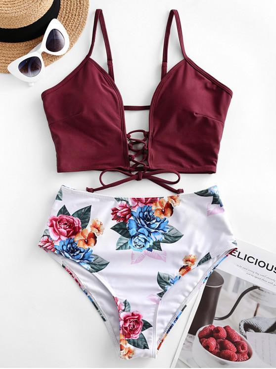 chic ZAFUL Lace-up Floral Leaf Tankini Swimsuit - FIREBRICK 2XL