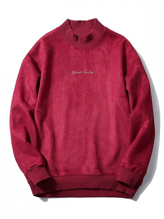 hot Chest Letter Print Solid Color Suede Sweatshirt - RED WINE S