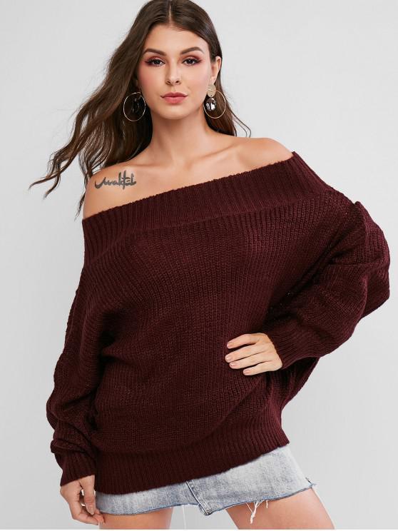 shop Off Shoulder Solid Loose Sweater - RED WINE L