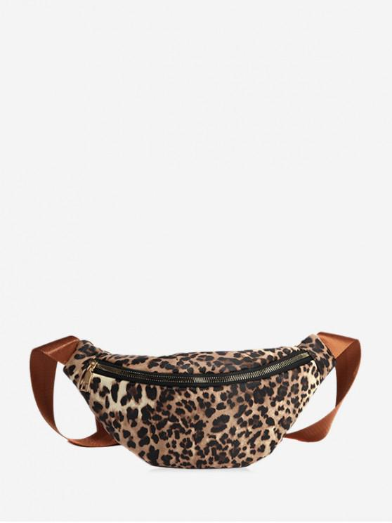 lady Leopard Print Casual Chest Bag - LIGHT BROWN